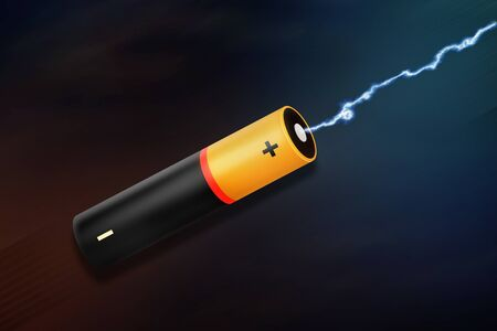 one AA battery and lightning on dark background