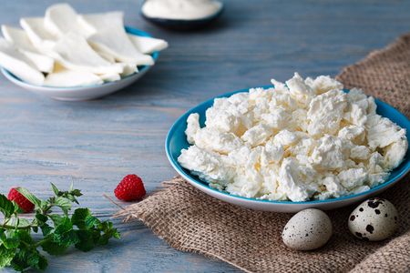 Dairy breakfast: a portion of some cottage cheese in a blue plate, a couple of quail eggs, sheep cheese (brynza), a saucer with sour cream and a mint twig. Bluish wooden background. Banco de Imagens