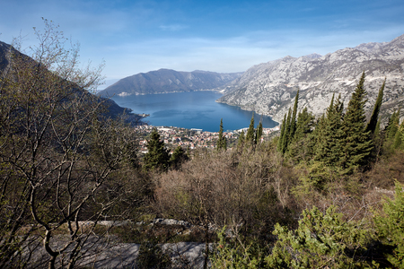 kotor: Kotor bay view from above, Montenegro Stock Photo