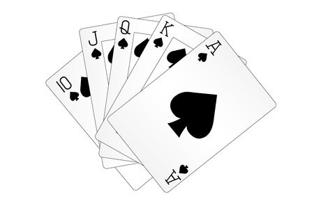 A royal straight flush playing cards poker hand in spades