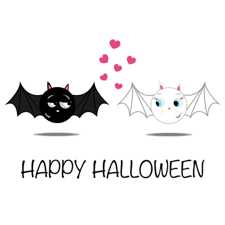witchery: Halloween funny illustration of bat couple in love.