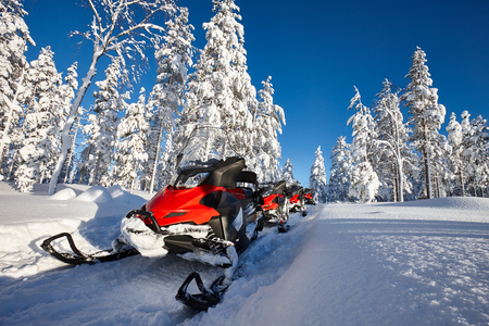 extreme weather: Group of red snowmobiles in Finnish Lapland sunny landscape