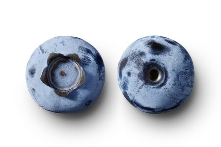 Fresh blueberries isolated on white background, natural look. Front and back side, top view with shadow. Stockfoto