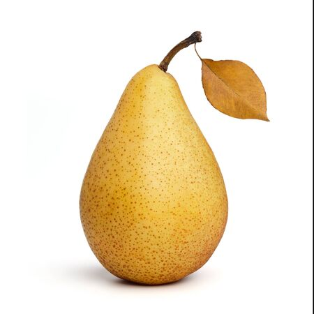 Yellow ripe pear with leaf isolated on white background
