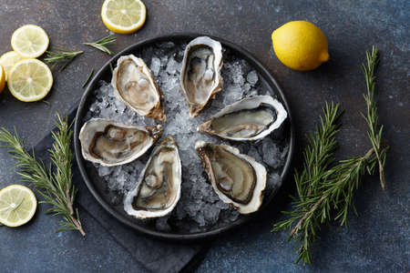 Fresh opened oysters on ice, textured background