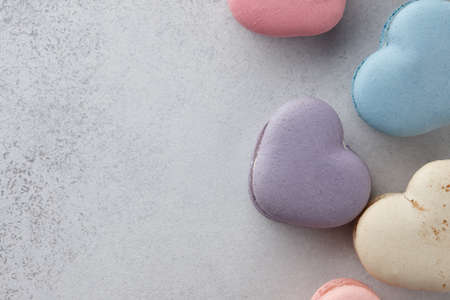 Heart shaped macarons for Valentines Day, pastel colors
