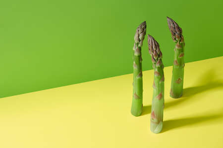Fresh green asparagus on yellow and green background, copy space Standard-Bild