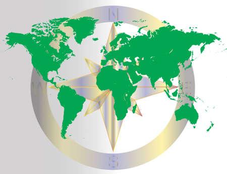 navigating: Green World Navigating Map Illustration