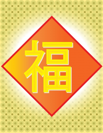 Fu - betekenis Geluk Halo Fortune Chinese Woord