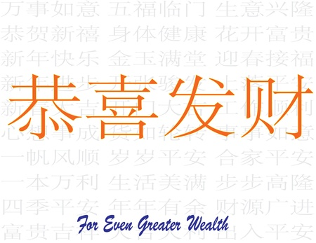 For Even Greater Wealth - Gong Xi Fa Cai - All Happiness Halo Fortune - Chinese Auspicious Word