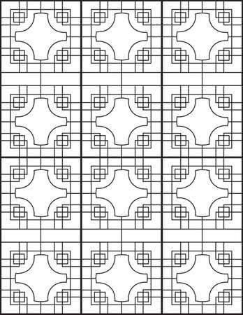 dressy: Negro y White Line Tabla chino-japonesas Window Wall Vectores