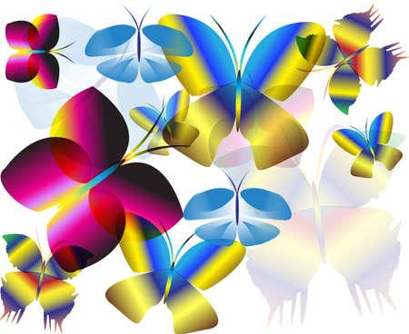 달성: 여러 가지 빛깔의 비행 나비 벽 배경
