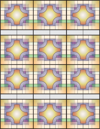 acquirement: Multicolor Table Line Chinese-Japan Wall Window II Illustration