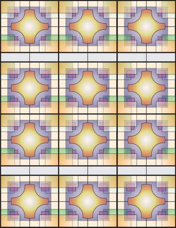 deeds: Multicolor Table Line Chinese-Japan Wall Window II Illustration