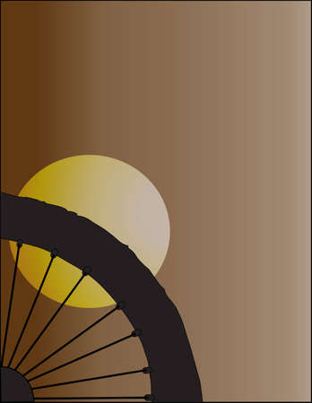 I Love Bicycle in Silhouette of Black-white on Brown Background Illustration