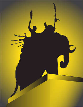 bygone: King Naresuan Maharaja - The Great King of Ayutthaya Kingdom of Thailand in Colorful Silhouette Tone Illustration