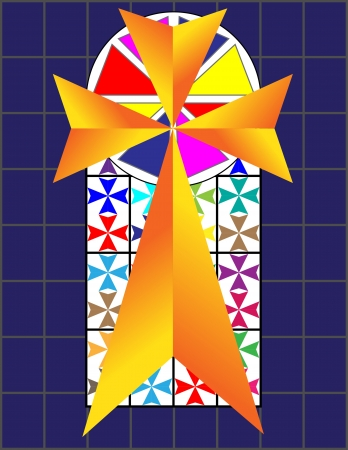 Cross on The Colorful Cristal Wall in Temple Stock Vector - 17098043