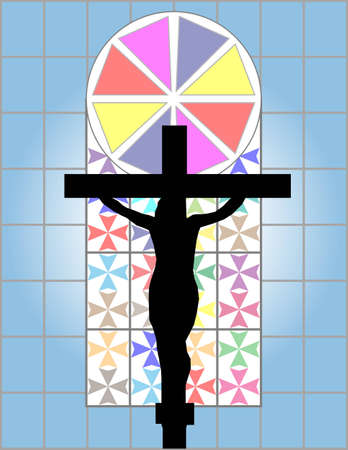 constancy: Jesus Christ Cross on The Colorful Cristal Wall in Temple