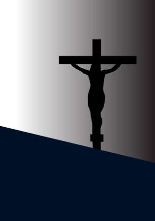 Jesus Christ on The Cross in Silhouette Tone Illustration