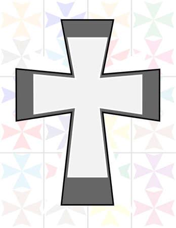 jesus on cross: Ges� Croce in due colori tono su The Wall trasparenza Cristal Vettoriali