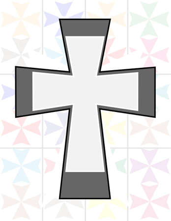 Jesus Cross in Two Tone Color on The Transparency Cristal Wall Stock Vector - 17098033
