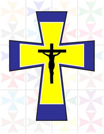 jesus on cross: Multicolor Croce con Black Jesus croce sul muro Transoarency Colorful Cristal