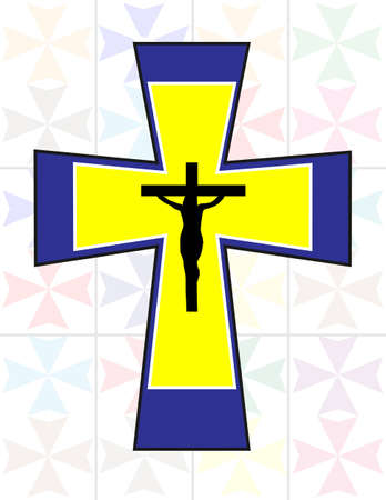 jesus cross: Multicolor Cross with Black Jesus Cross on The Transoarency Colorful Cristal Wall