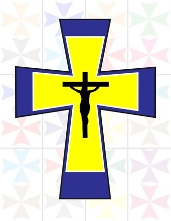 Multicolor Cross with Black Jesus Cross on The Transoarency Colorful Cristal Wall