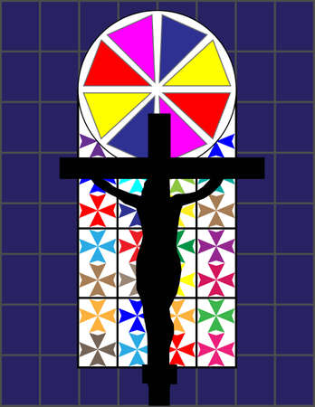 constancy: Cross on The Colorful Cristal Wall in Temple