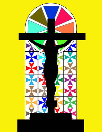Black Cross on The Colorful Cristal Wall in The Temple Illustration
