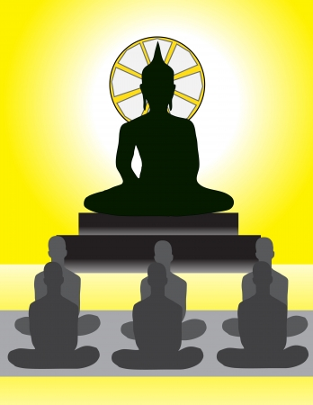 Meditation in Front of Buddha Image Stock Vector - 17210293