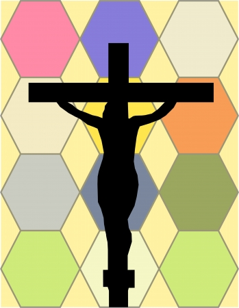 constancy: White Cross on The Color Wall of the Temple Illustration