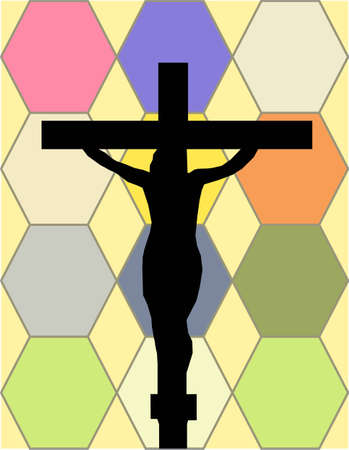 surety: White Cross on The Color Wall of the Temple Illustration