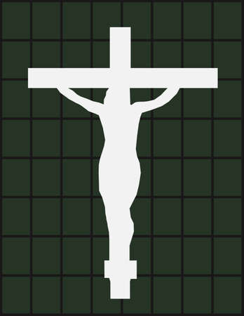 White Cross on The Color Wall of the Temple Illustration