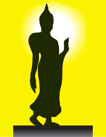 constancy: Walking Buddha Posture Image with Ring of the Light