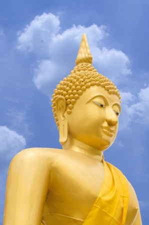 A image or Statue of Buddha that Seated in The attitude of meditation and Sitting cross-legs with one top of another. Stock Photo