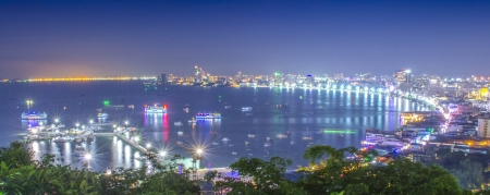 Pattaya City Bay from View Point on the Hill at Night Stock Photo