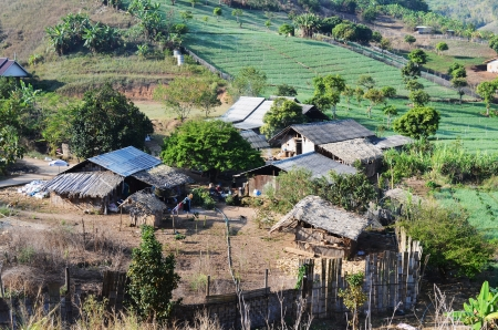 Country Village and Farm on Hillside, Maehongson province, Thailand.