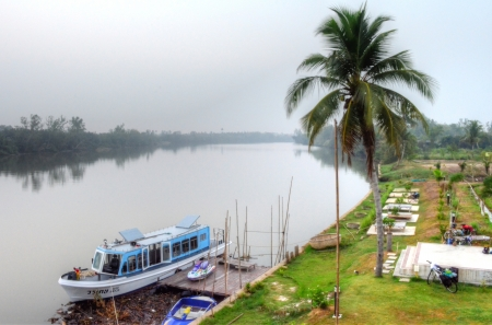 Lanscape of Misty Morning Countryside with River, Boat, Coconut Tree and Garden Chachoensao province,Thailand
