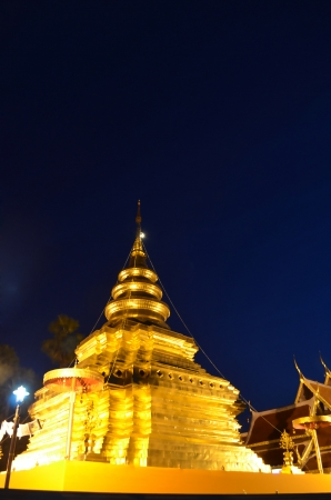Phra That Sri Jom Thong  Before Sunrise, Series 1_2, Golden Pagoda on Spot Light, Chiang Mai province, Thailand