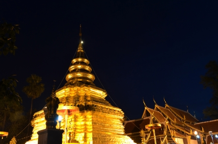 Phra That Sri Jom Thong  Before Sunrise, Series 1_3, Golden Pagoda on Spot Light, Chiang Mai province, Thailand