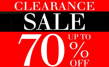 Clearance Sale up to 70 Percents Promotion Label photo