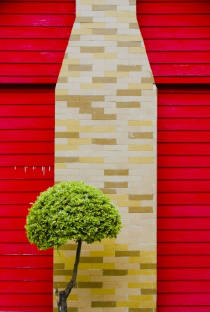 Red Wood and colorful Brick Wall Texture