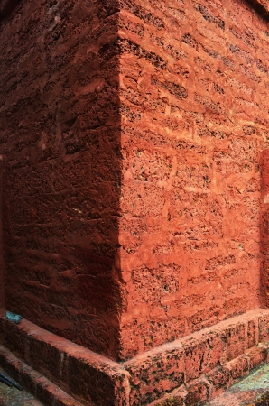 The Laying Brick Red Wall of a Pagoda.