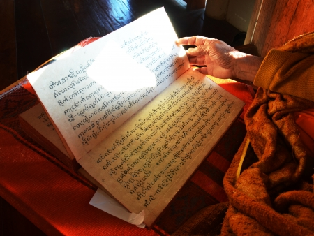 births: Monk reading the Scripture of Tales of the Lord Buddhas Former Births