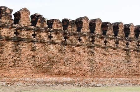 The Ancient Fortress Wall  of Ayuttaya Territory Stock Photo