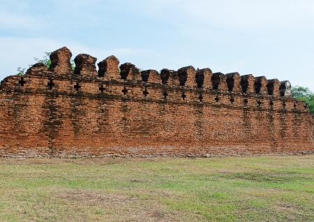 preceding: The Ancient Fortress Wall  of Ayuttaya Territory Stock Photo