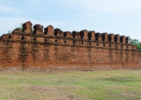 ayuttaya: The Ancient Fortress Wall  of Ayuttaya Territory Stock Photo