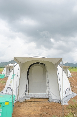 The Shelter Tent for Refuging from Natural Disaster. Stock Photo