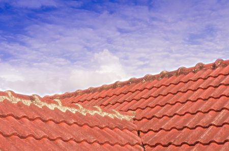 The Tiled Roof with Fluffy Cloud Blue Sky 107